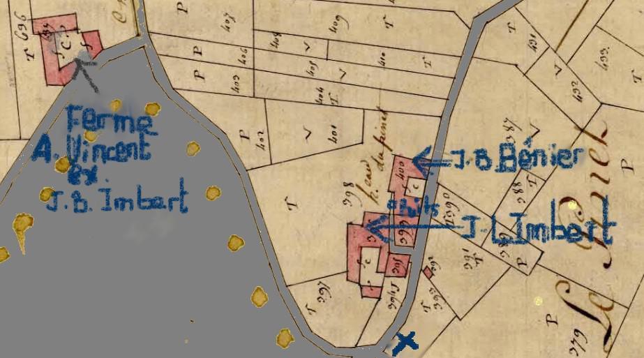 Cadasre du hameau du Pinet en 1825 - marques