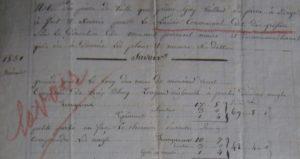 Comptes Pierre Gay la Jardinière pierres pour le lavoir des Greffières- 1831