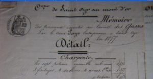 Mémoire des travaux du sieur PAYS pour la charpente - 1877 - zoom